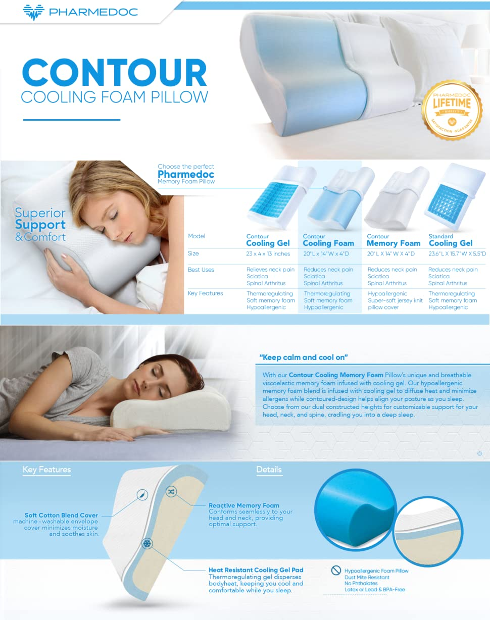 pharmedoc cooling foam contour pillow