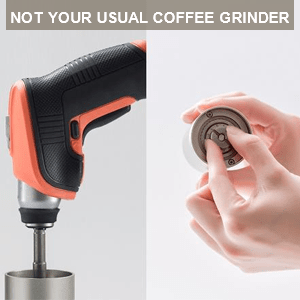 Transform manual grinder to instant electric grinder with drill and adjust level of coarseness.