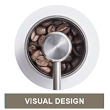 Transparent and clear cover to have visual on the level of coffee beans to grind.