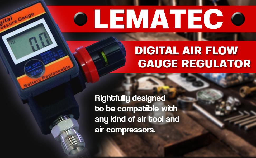 Less Worries with Lematec Digital Air Flow Gauge Regulator DAR03B with Locking Adjustment Valve