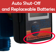 Auto Shut-Off and Replaceable Batteries