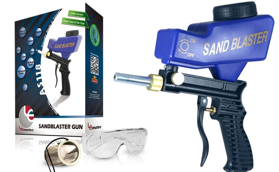 Handheld Sandblasting Gun Air Glass Blasting Sand Kit Mechanic Etching Tool Set