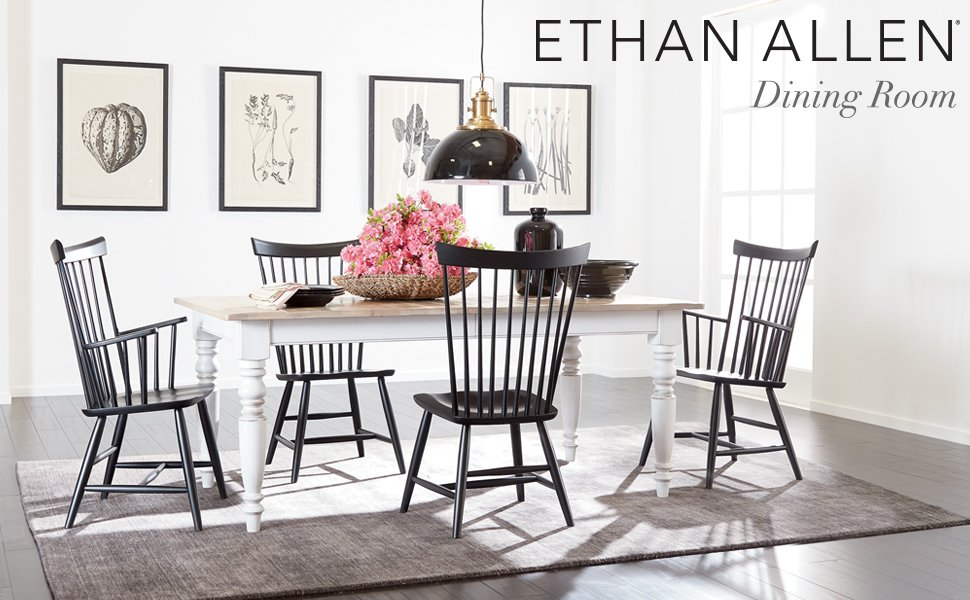 Ethan Allen Cameron Trestle Extension Dining Table, Rye / Charcoal