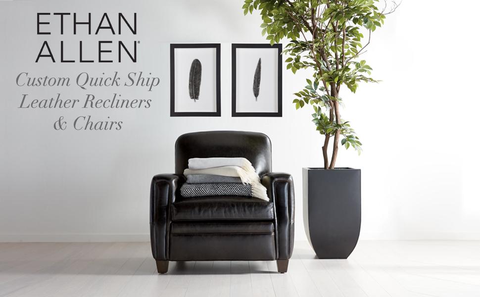 Prime Amazon Com Ethan Allen Colburn Leather Recliner Omni Brown Short Links Chair Design For Home Short Linksinfo