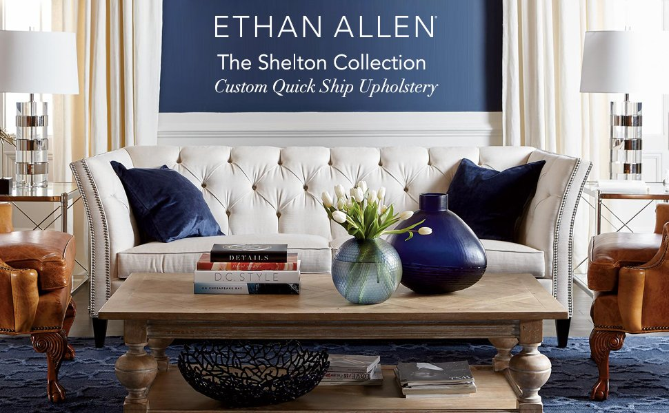 Amazon.com: Ethan Allen Shelton sofá, rápido de barco, Tela ...