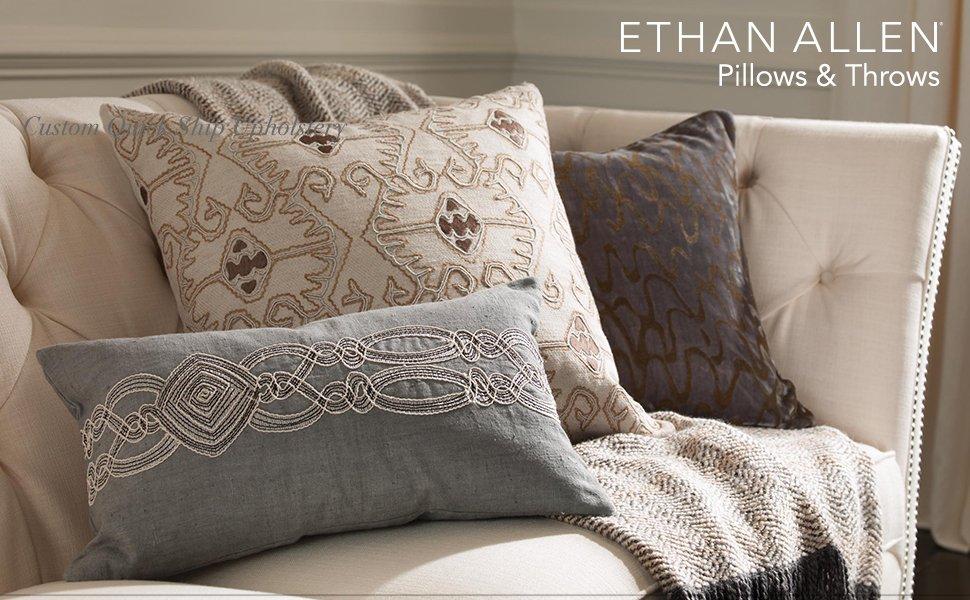 Amazon.com: Ethan Allen bordado crewel almohada Ikat: Home ...