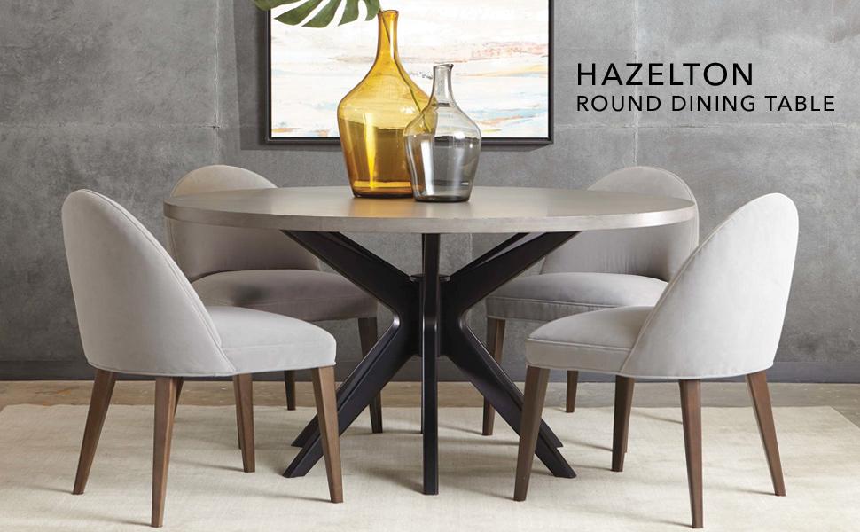 Ethan Allen Hazelton Midcentury-Modern Round Dining Table, 36\