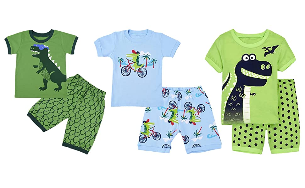 3c111b847 Amazon.com  DDSOL Boys Pajamas Dinosaur Short Sets Toddler Pjs ...