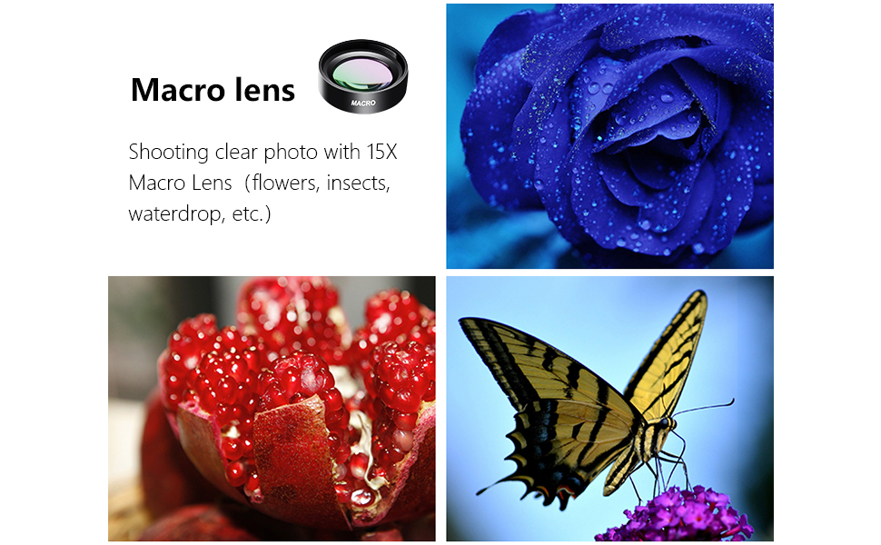 Phone Camera Lens For Iphone And Android Phone 15x Macro And Super Wide Angle Lens With Microfiber Bag And Clip
