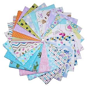 Misscrafts 50PCS Cotton Fabric Squares 20cm x 20cm Solid Colors Patchwork Fabric Bundle Pre-cut Squares Sewing Quilting DIY Craft