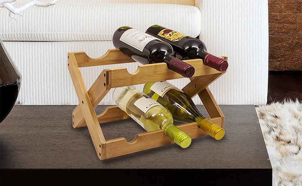 The Compact Size And Functional Design Is Great For Small Spaces Easy  Storage Amazon Com Sorbus Bamboo Foldable Countertop Wine Rack 6 Bottles