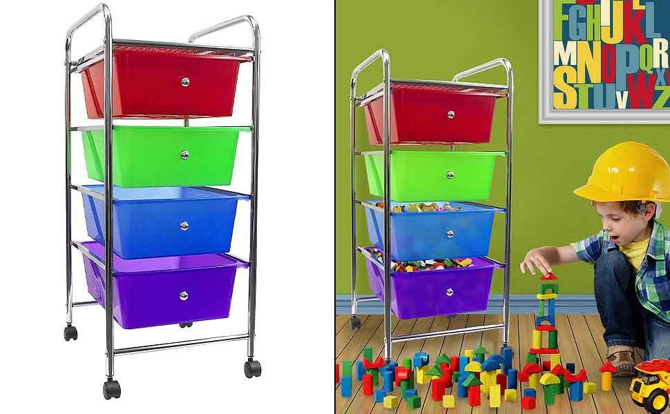 sorbus 4 drawer organizer rolling cart features storage bins on wheels great. Black Bedroom Furniture Sets. Home Design Ideas
