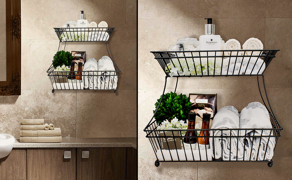 Amazon Com Sorbus Bread Basket 2 Tier Flat Back Metal
