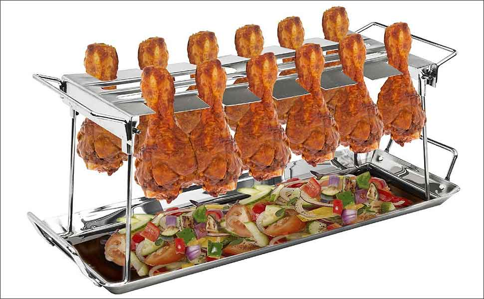 Thighs or Drumsticks Wings Metal Chicken Racks for Grilling Roaster G.a HOMEFAVOR BBQ Chicken Wing//Leg Rack /& Drip Pan,Foldable Stainless Steel Grilling Accessories Fits up to 14 Chicken Legs