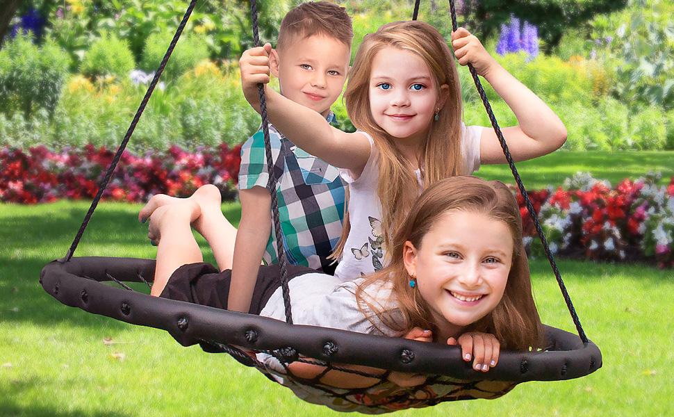 Amazon Com Sorbus Spinner Swing Kids Indoor Outdoor Round Web