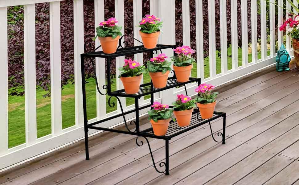 Amazon.com: Sorbus - Soporte de 3 pisos para plantas, diseño ...