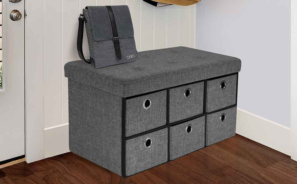 Sorbus Storage Bench Chest With Drawers Collapsible Folding Bench Ottoman Includes Cover Perfect For Entryway Bedroom Bench Cubby Drawer Footstool Hope Chest Faux Linen Gray Furniture Decor