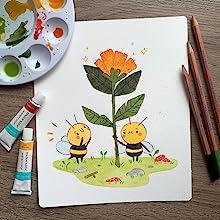 Colour Block Watercolor Paint and Pencil Artwork