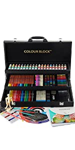 art set for adults professional art set leather like briefcase carry case