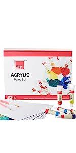 Acrylic paint tubes 12ml art set with paintbrushes