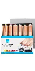 24 colors colored pencils art set in tin case