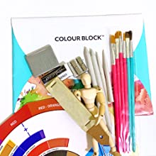 paintbrush, erasers, art supplies, color wheel