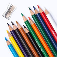 colored pencils with metal sharpener
