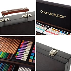 Colour Block Mixed Media Art Set Wooden Case