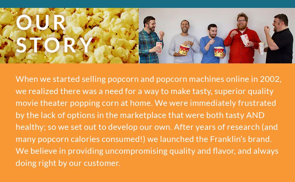 our story franklins popcorn coconut oil butter