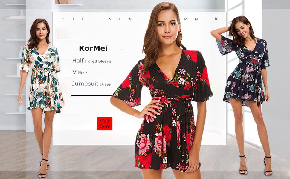 KorMei Womens V Neck Floral Print Tie Waist Short Romper Jumpsuit Dress