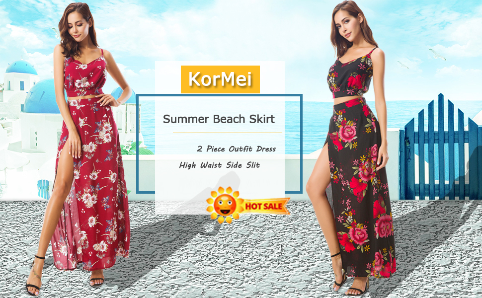 7a8b2a537f43 KorMei Women s Floral Print Two Piece Crop Top + Maxi Skirt Long Maxi Dress  Set