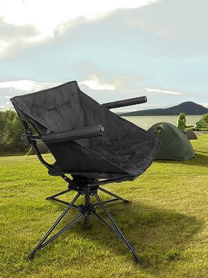 Amazon.com: Zenree Outdoor Folding Swivel Hunting Chairs ...