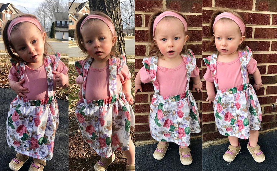 Toddler Baby Girls 3PCS Outfits Ruffle Long Sleeve Romper Floral Suspender Braces Skirt with Headbands