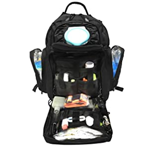 black tactical diaper bag filled