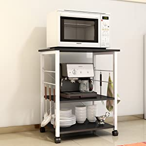 Superb Soges 2 Tier Microwave Oven Stand Storage Cart With Wheel Kitchen Bakeru0027s  Rack