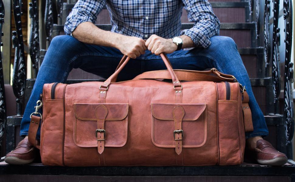 Leather duffel gym sports 30 inch travel bag