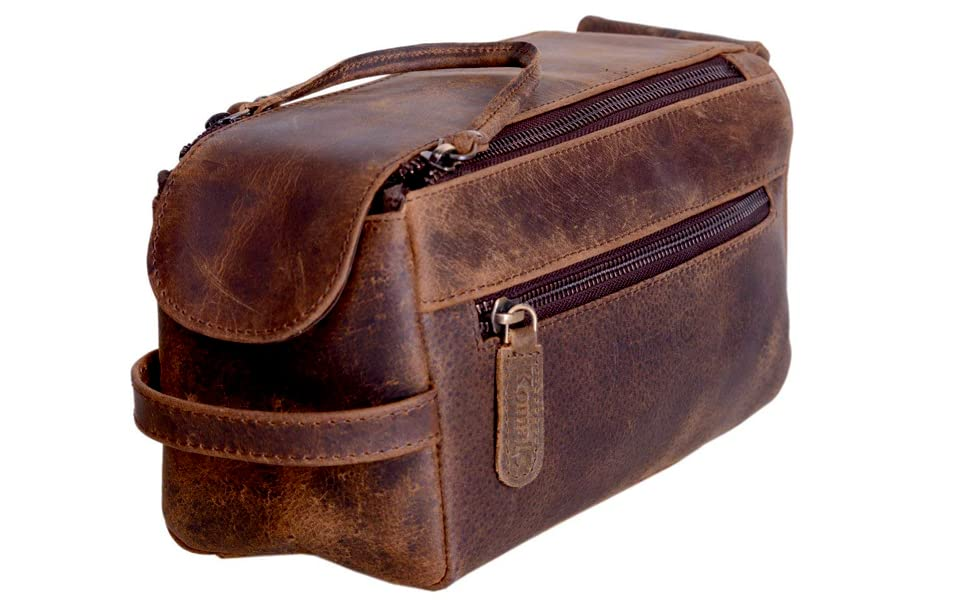 b3da1e43e3 Amazon.com  KOMALC Genuine Buffalo Leather Unisex Toiletry Bag ...
