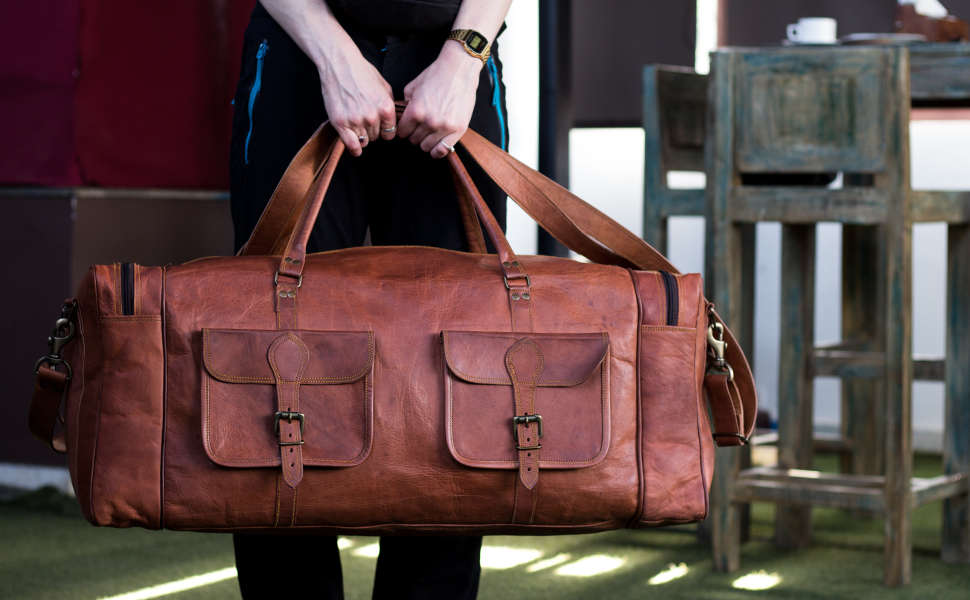 leather sports 30 inch travel duffel bag