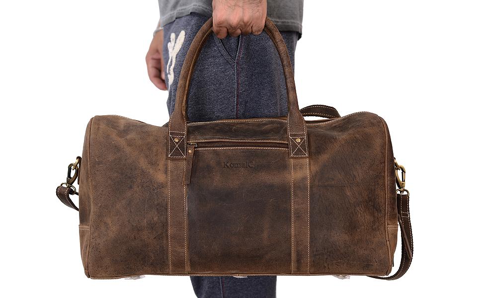 5e734a56fab Amazon.com  KomalC Genuine Leather Duffel   Travel Overnight Weekend ...