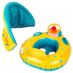 SKL Baby Infant Swimming Pool Float with Canopy, SKL Inflatable Swim Seat Float Boat Suitable for Age 6 - 36 Months Babies