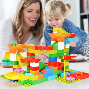 NUOVO 98PC Building Brick Marble Run Race Maze TRACK Blocchi Giocattolo Bambini Divertimento