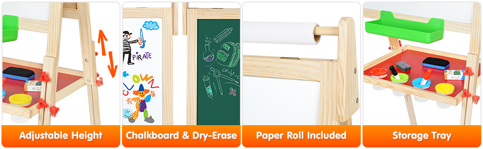 easel3 - BATTOP Easel For Kids With Paper Roll, Art Easel For Kids 3 In 1 Double Sided Childrens Homeschool Easel Chalkboard Dry Erase Whiteboard Toddler Toy Easel Paint Cups Wooden Adjustable