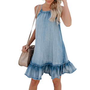 7276636c4f Cosygal Women s Denim Sleeveless Halter Ruffle Back Hollow Out Loose ...