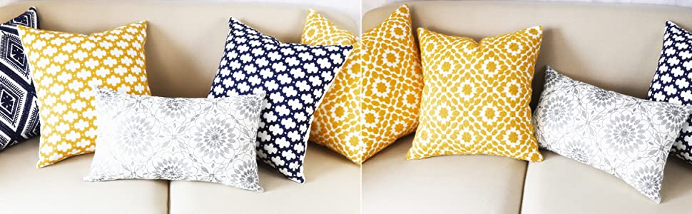 yellow pillow covers 18x18