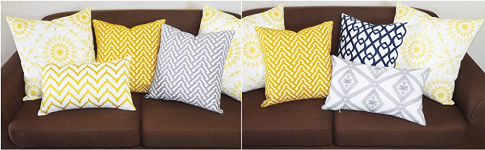 yellow pillow covers 20x20