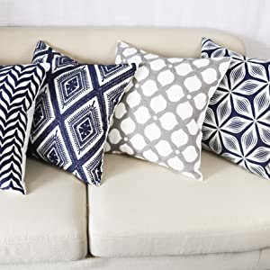 gray decorative throw pillows