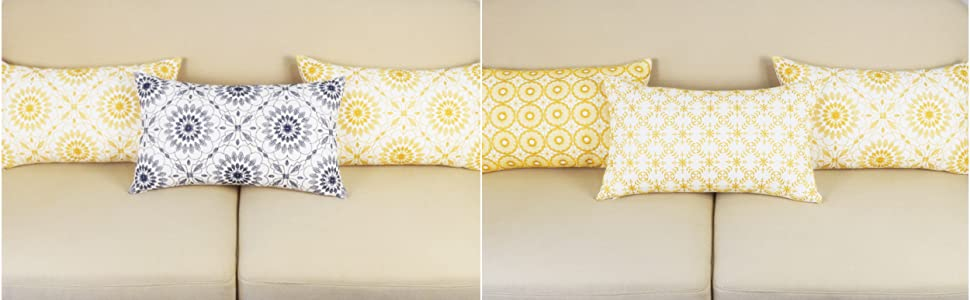 yellow lumbar pillow covers