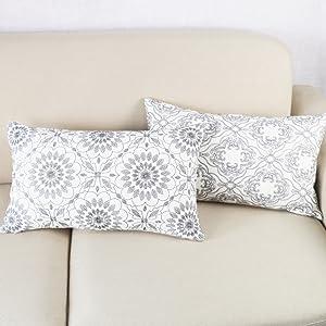 gray lumbar throw pillow covers