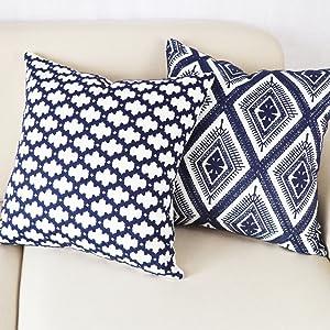 blue decorative pillow covers