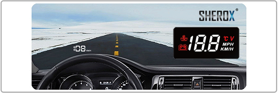 Battery Voltage SHEROX 3.5 Car HUD Head Up Display with OBD2//EUOBD Interface Plug /& Play Vehicle Speed KM//h MPH Water Temperature Mileage Measurement TCA A100 BLACK OverSpeed Warning